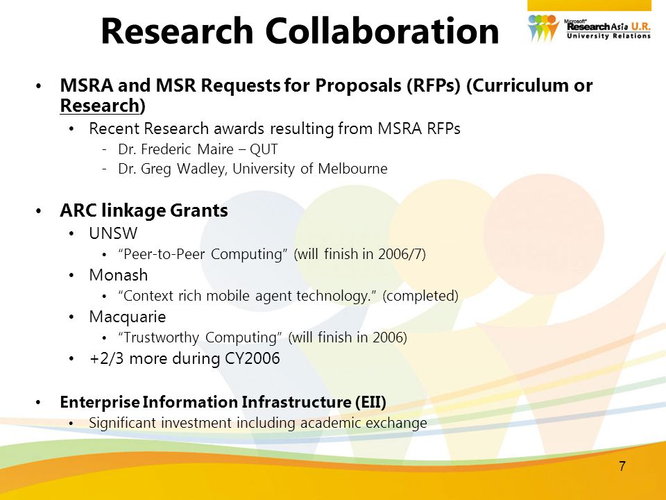 7 Research Collaboration MSRA and MSR Requests for Proposals (RFPs) (Curriculum or Research) Recent Research awards resulting from MSRA RFPs -Dr.