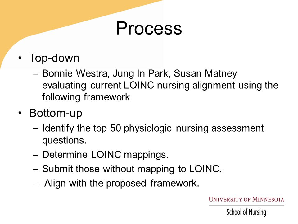 Process Top-down –Bonnie Westra, Jung In Park, Susan Matney evaluating current LOINC nursing alignment using the following framework Bottom-up –Identify the top 50 physiologic nursing assessment questions.