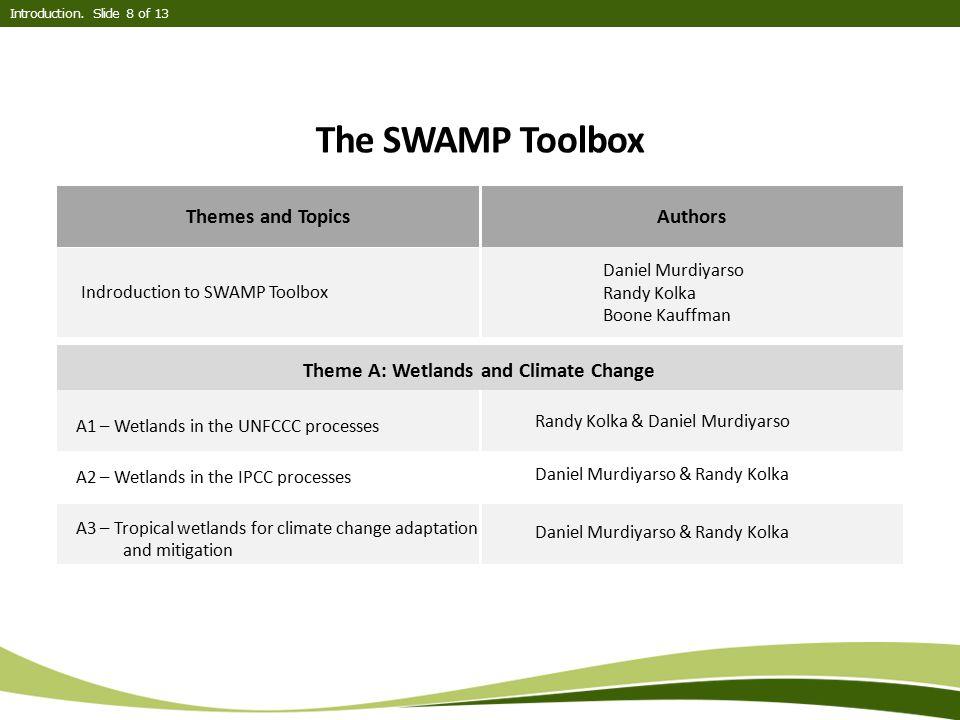 The SWAMP Toolbox Introduction. Slide 8 of 13 Themes and TopicsAuthors Indroduction to SWAMP Toolbox Daniel Murdiyarso Randy Kolka Boone Kauffman A1 –