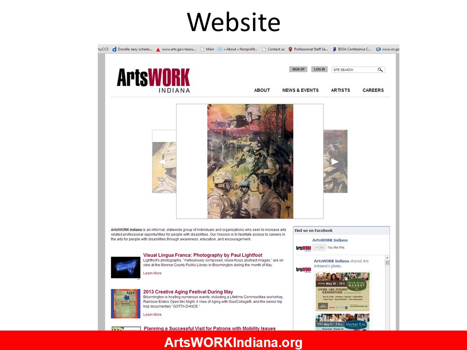Website ArtsWORKIndiana.org