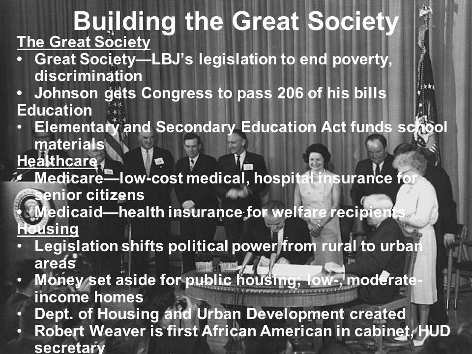Johnson's Domestic Agenda The War on Poverty 1964 tax cut spurs economic growth; lowers federal deficit 1964 Civil Rights Act prohibits discrimination