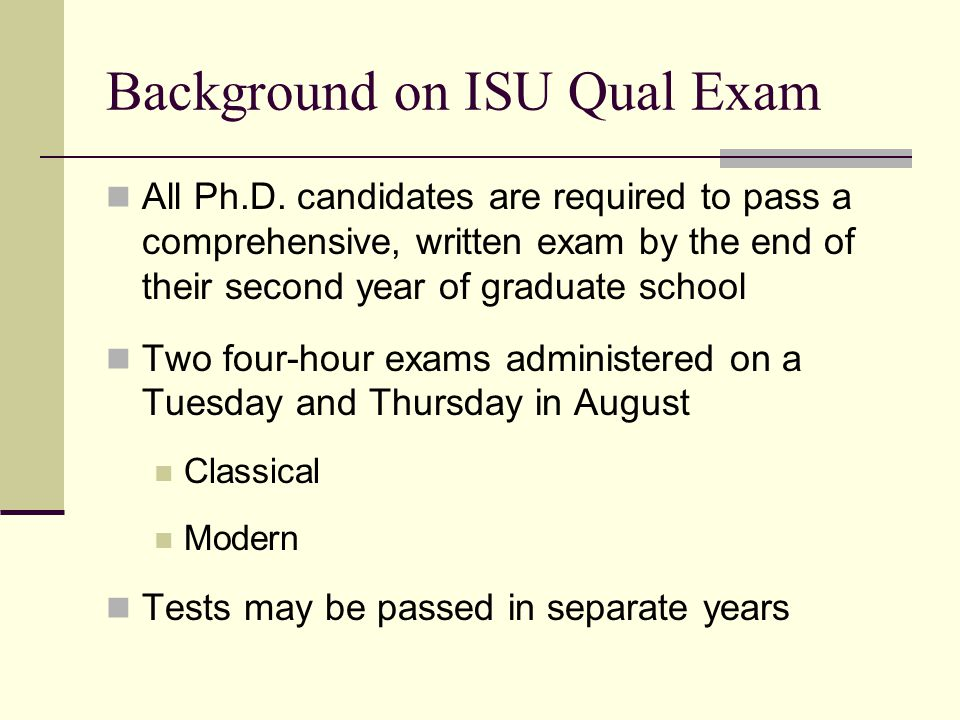 Background on ISU Qual Exam All Ph.D.
