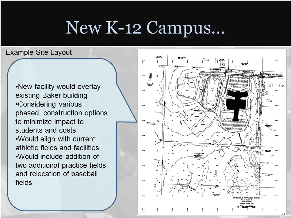 New K-12 Campus… New facility would overlay existing Baker building Considering various phased construction options to minimize impact to students and costs Would align with current athletic fields and facilities Would include addition of two additional practice fields and relocation of baseball fields Example Site Layout