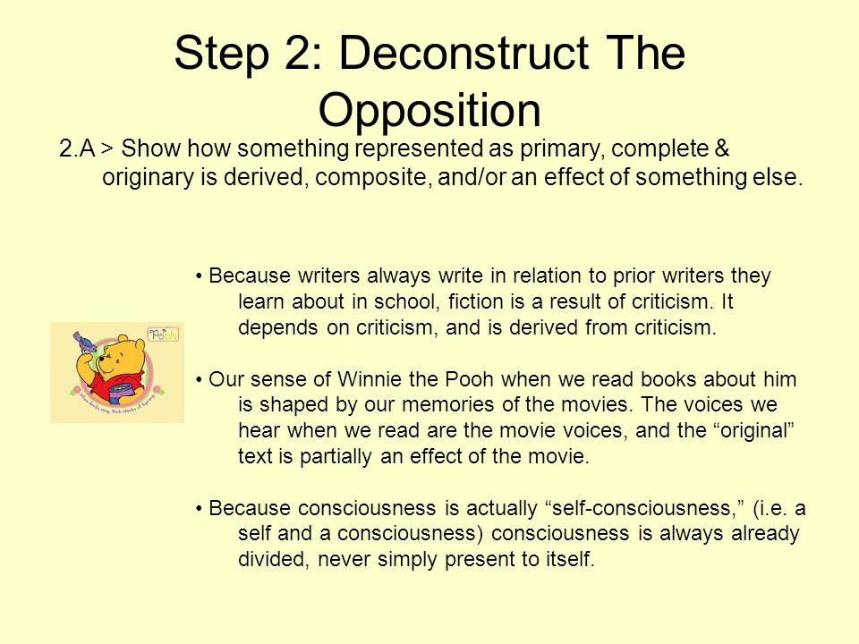 Step 2: Deconstruct The Opposition 2.A > Show how something represented as primary, complete & originary is derived, composite, and/or an effect of so