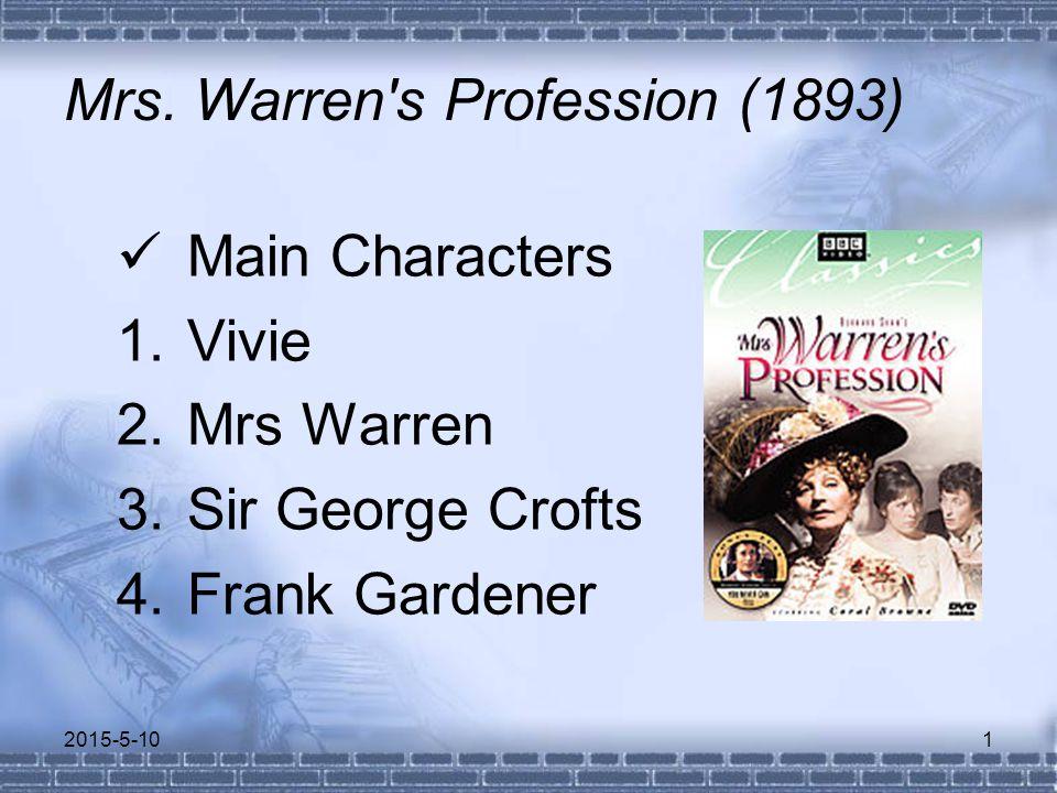 Mrs. Warren's Profession (1893) Main Characters 1.Vivie 2.Mrs Warren 3.Sir George Crofts 4.Frank Gardener 2015-5-101