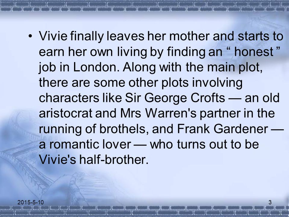 Vivie finally leaves her mother and starts to earn her own living by finding an honest job in London.