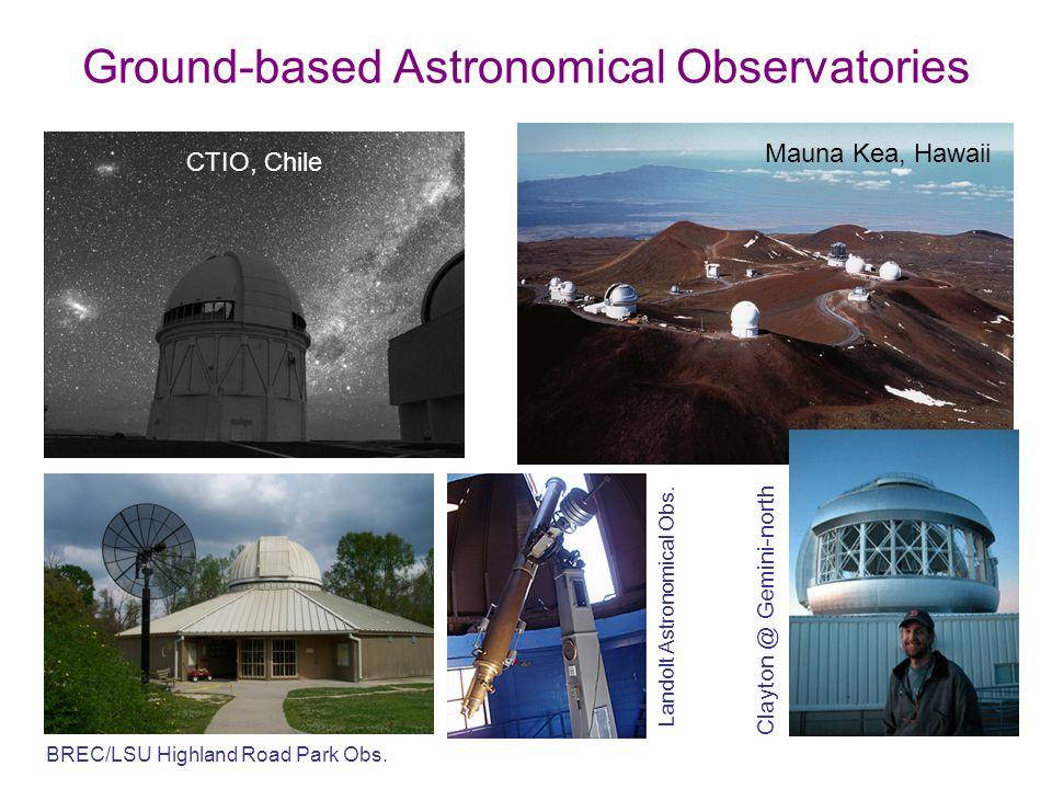 Ground-based Astronomical Observatories Mauna Kea, Hawaii Clayton @ Gemini-north BREC/LSU Highland Road Park Obs. Landolt Astronomical Obs. CTIO, Chil