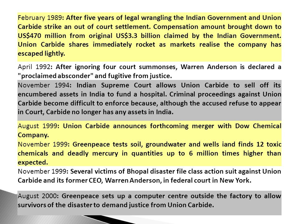 February 1989: After five years of legal wrangling the Indian Government and Union Carbide strike an out of court settlement.