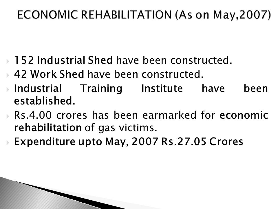  152 Industrial Shed have been constructed.  42 Work Shed have been constructed.
