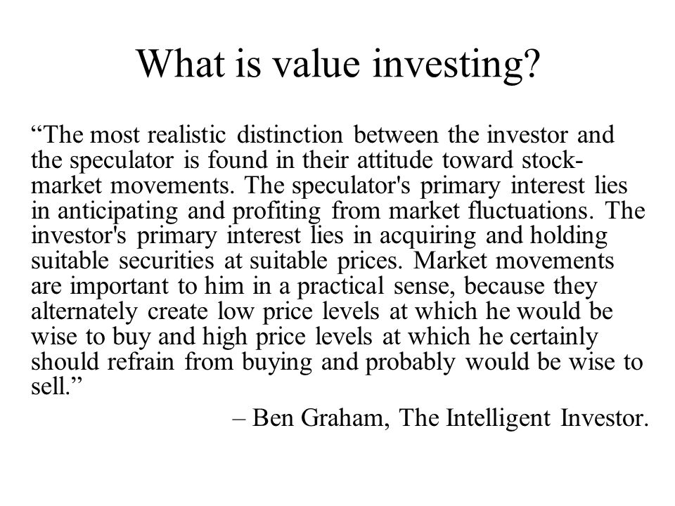 What is value investing.