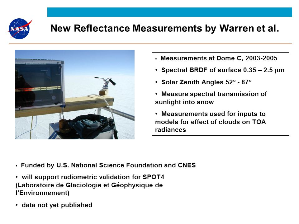 New Reflectance Measurements by Warren et al.  Funded by U.S.