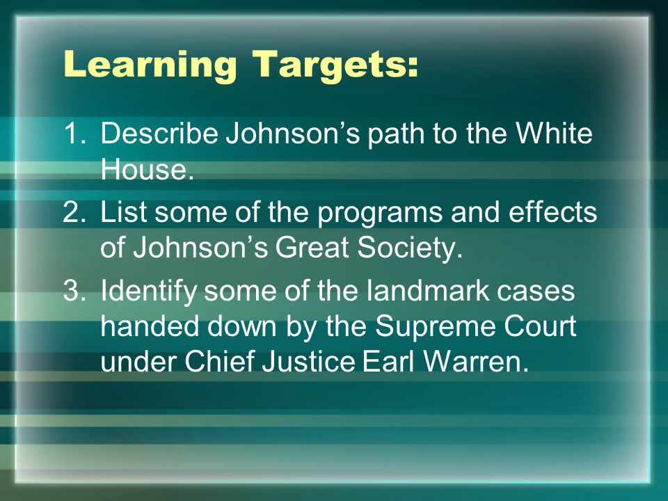LBJ's Path to the White House House of Representatives in 1937 – New Deal Democrat from Texas 1948 Senate by 87 votes Johnson became famous for ability to work within the political system to accomplish his goals.