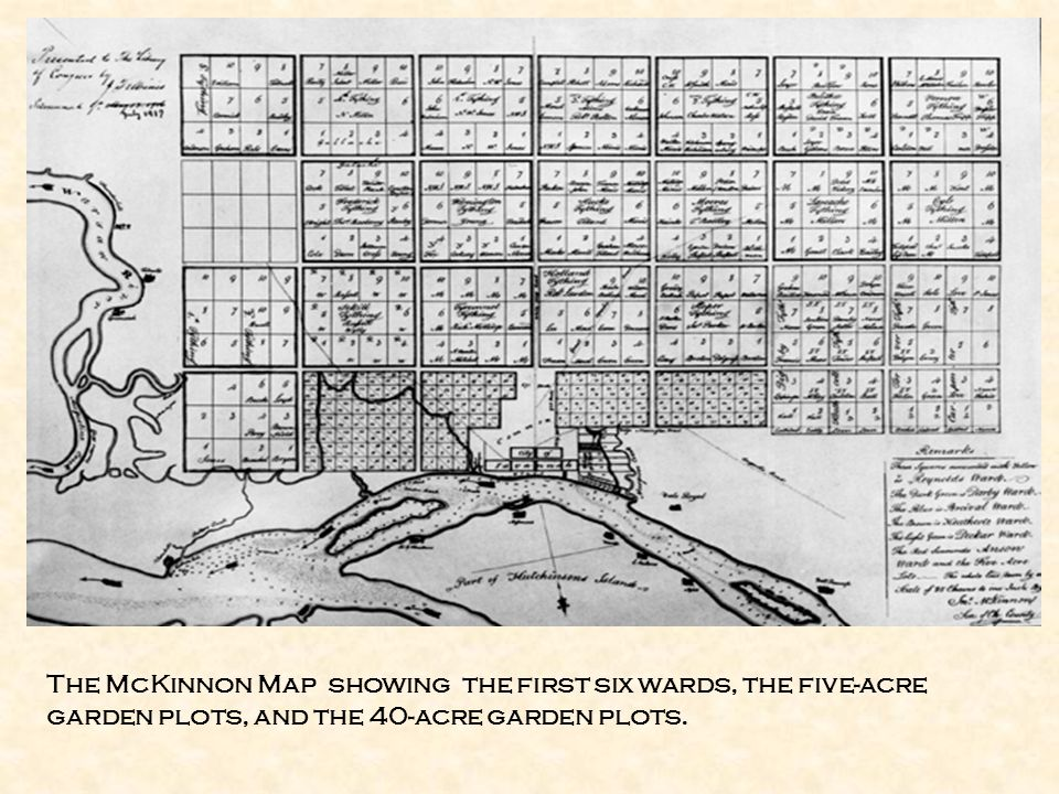The McKinnon Map showing the first six wards, the five-acre garden plots, and the 40-acre garden plots.