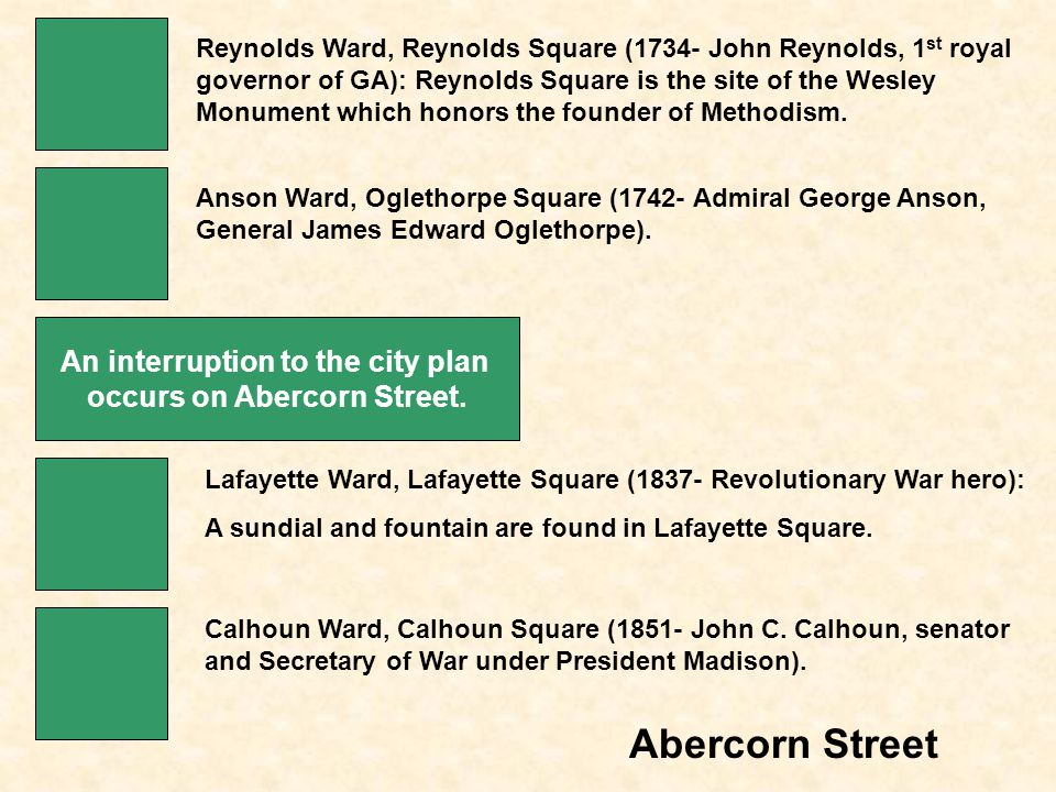 Abercorn Street Reynolds Ward, Reynolds Square (1734- John Reynolds, 1 st royal governor of GA): Reynolds Square is the site of the Wesley Monument which honors the founder of Methodism.