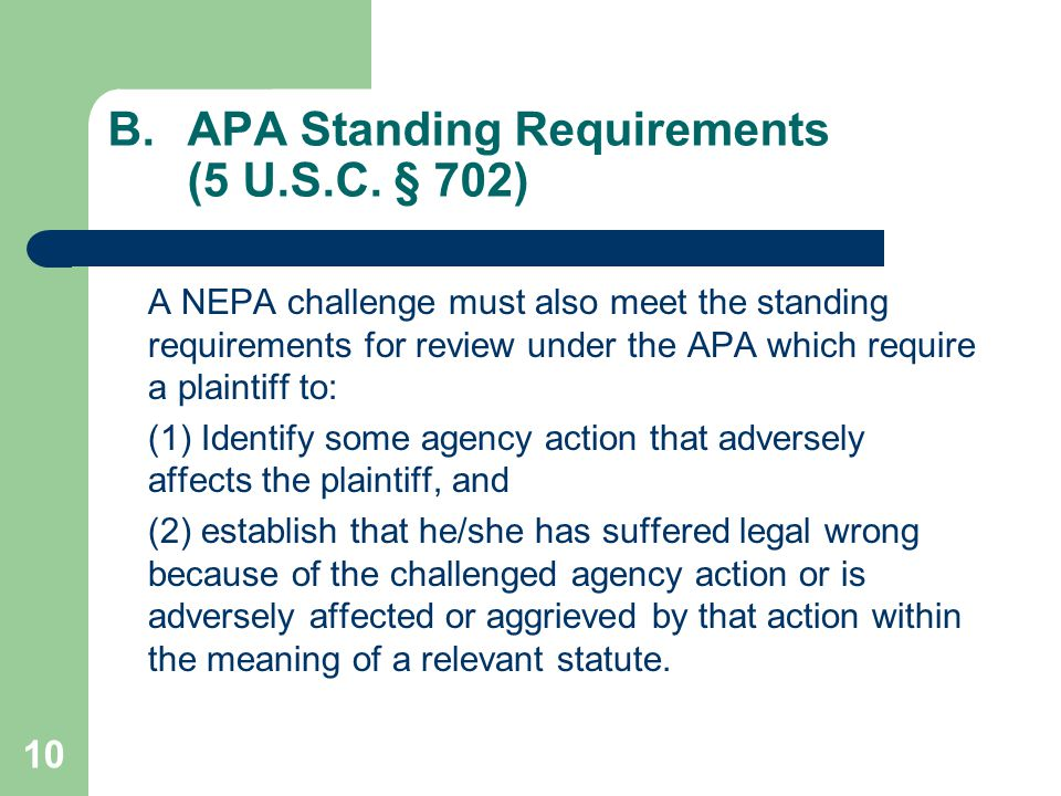 10 B.APA Standing Requirements (5 U.S.C.