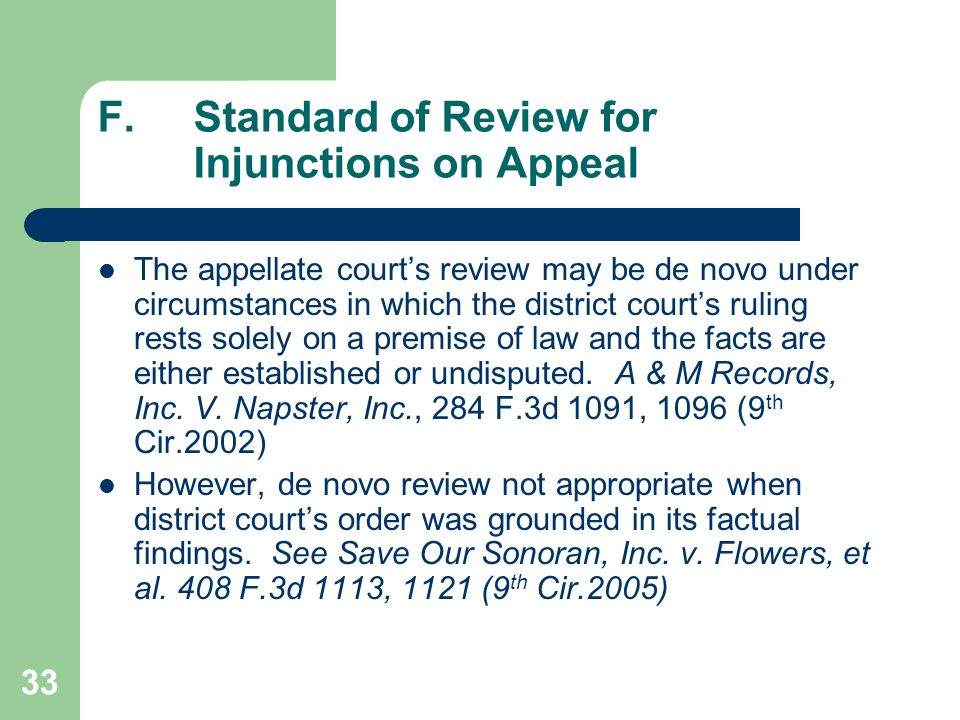 33 F.Standard of Review for Injunctions on Appeal The appellate court's review may be de novo under circumstances in which the district court's ruling rests solely on a premise of law and the facts are either established or undisputed.