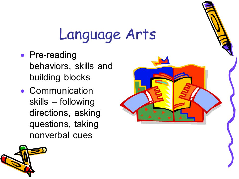 Language Arts  Pre-reading behaviors, skills and building blocks  Communication skills – following directions, asking questions, taking nonverbal cu