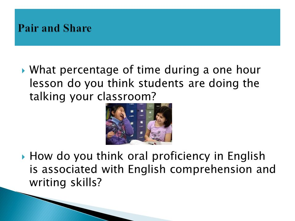  What percentage of time during a one hour lesson do you think students are doing the talking your classroom?  How do you think oral proficiency in
