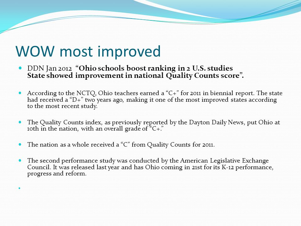 "WOW most improved DDN Jan 2012 ""Ohio schools boost ranking in 2 U.S. studies State showed improvement in national Quality Counts score"". According to"