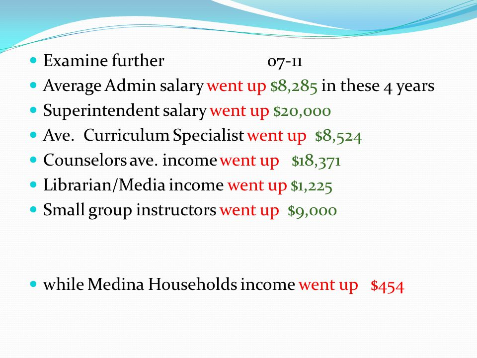 Examine further 07-11 Average Admin salary went up $8,285 in these 4 years Superintendent salary went up $20,000 Ave.