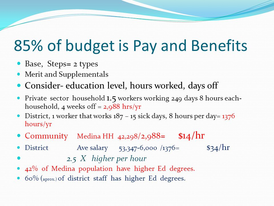 85% of budget is Pay and Benefits Base, Steps= 2 types Merit and Supplementals Consider- education level, hours worked, days off Private sector household 1.5 workers working 249 days 8 hours each- household, 4 weeks off = 2,988 hrs/yr District, 1 worker that works 187 – 15 sick days, 8 hours per day= 1376 hours/yr Community Medina HH 42,298 /2,988= $14/hr District Ave salary 53,347-6,000 /1376= $34/hr 2.5 X higher per hour 42% of Medina population have higher Ed degrees.