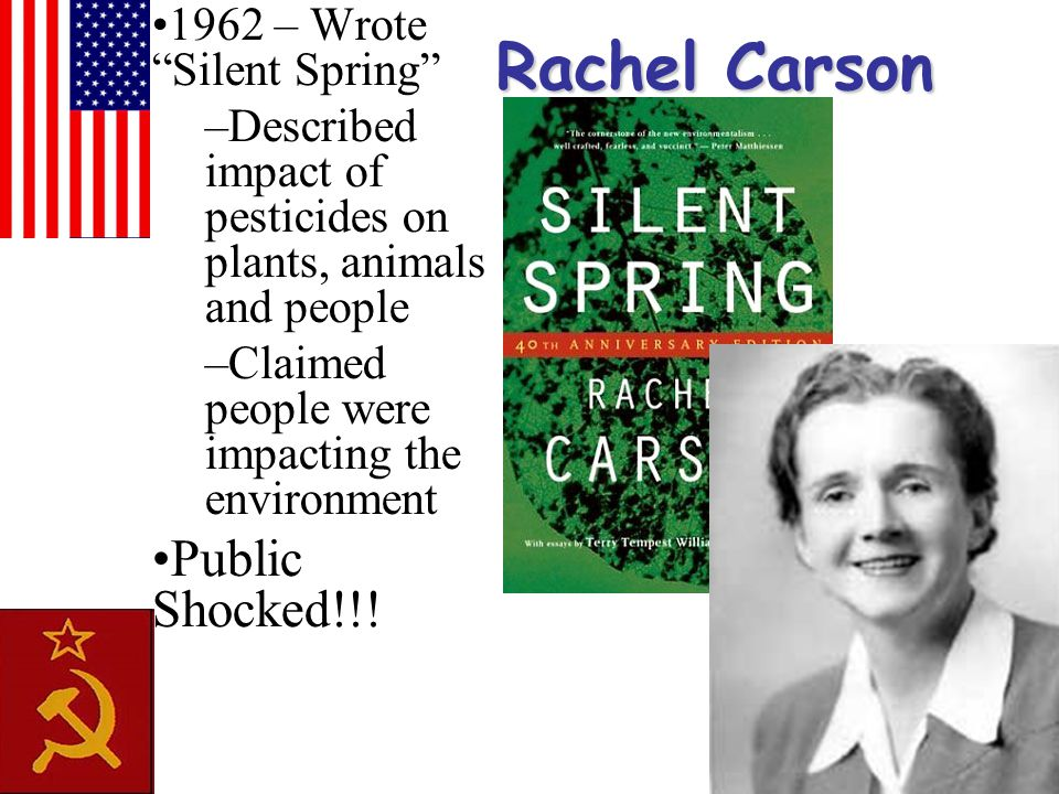 "Rachel Carson 1962 – Wrote ""Silent Spring"" –Described impact of pesticides on plants, animals and people –Claimed people were impacting the environmen"