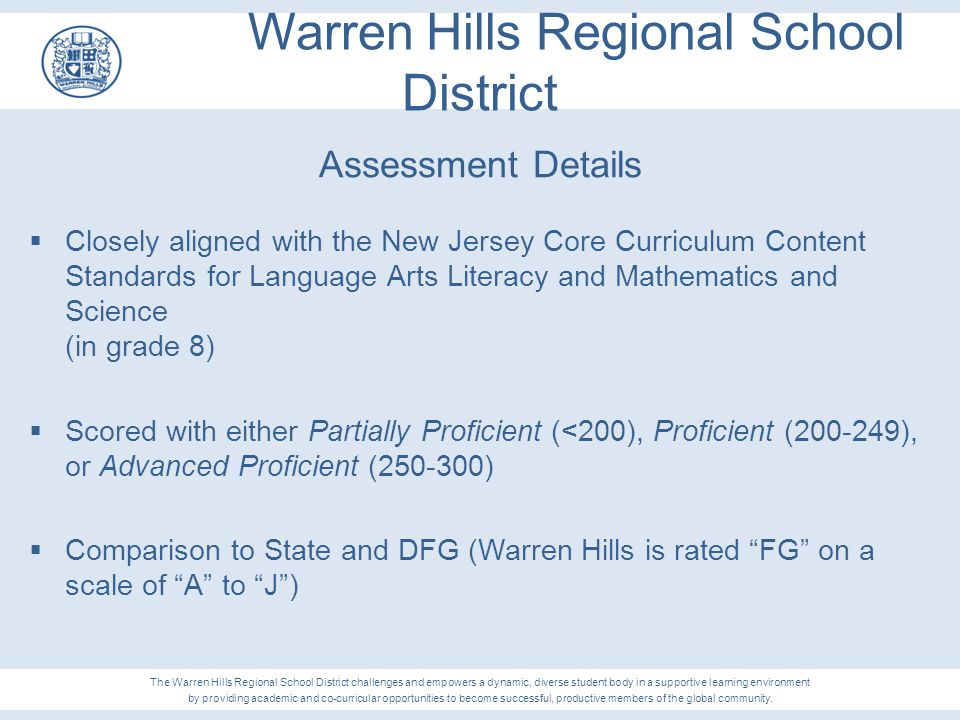 Warren Hills Regional School District Assessment Details  Closely aligned with the New Jersey Core Curriculum Content Standards for Language Arts Lit
