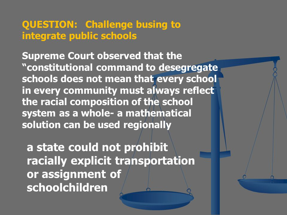 Swann v. Charlotte-Mecklenburg County Board of Education 1970  The school population was 29% black, and those pupils were concentrated in one quadran