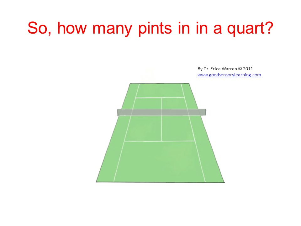So, how many pints in in a quart By Dr. Erica Warren © 2011 www.goodsensorylearning.com