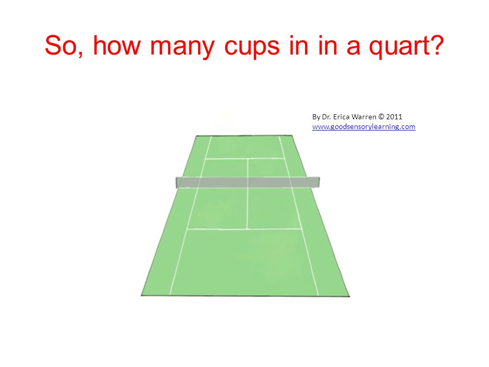 So, how many cups in in a quart By Dr. Erica Warren © 2011 www.goodsensorylearning.com