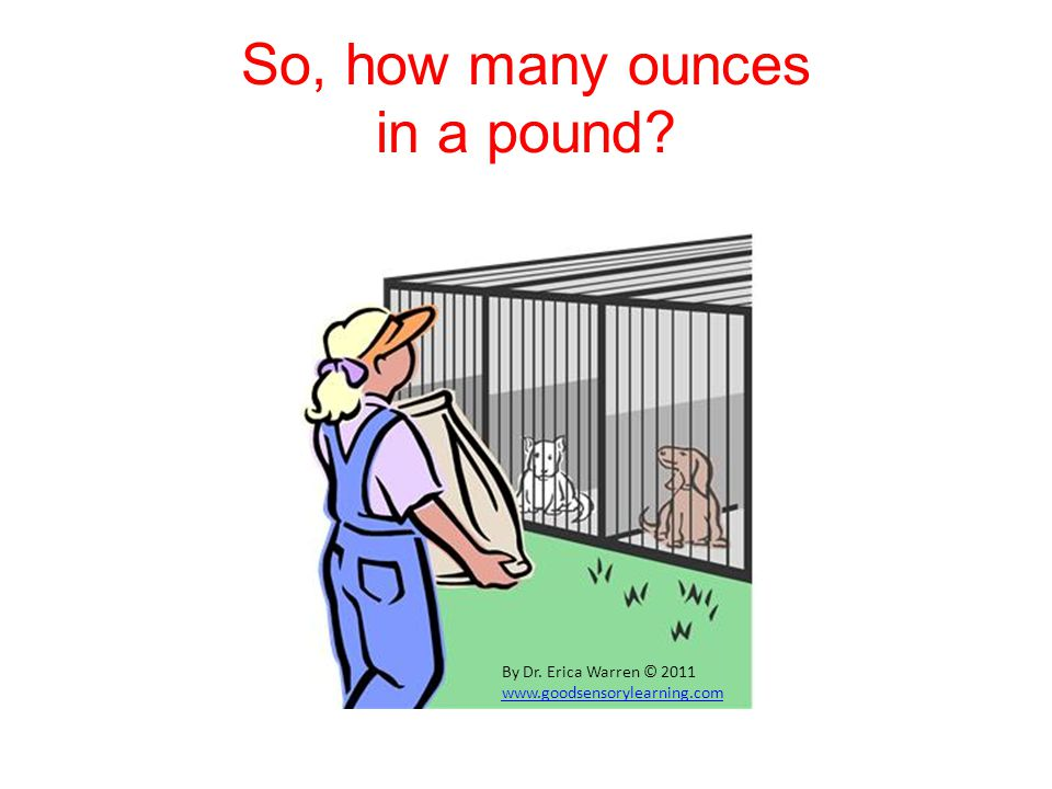 So, how many ounces in a pound? By Dr. Erica Warren © 2011 www.goodsensorylearning.com