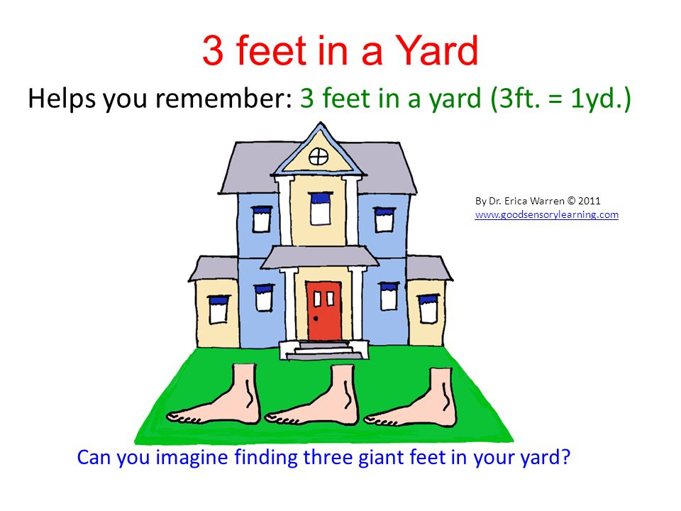 3 feet in a Yard Helps you remember: 3 feet in a yard (3ft.
