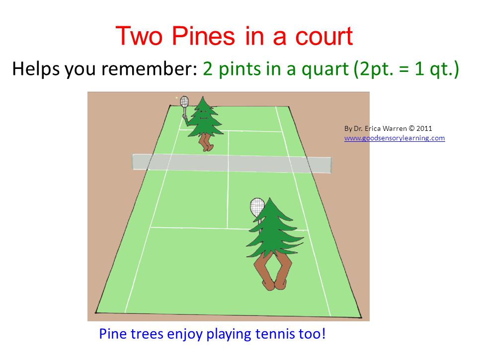 Two Pines in a court Helps you remember: 2 pints in a quart (2pt.