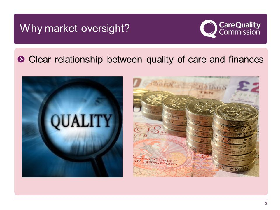 3 Why market oversight Clear relationship between quality of care and finances