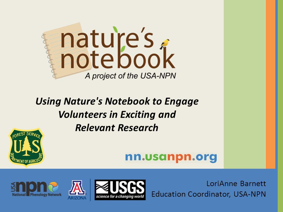 LoriAnne Barnett Education Coordinator, USA-NPN Using Nature s Notebook to Engage Volunteers in Exciting and Relevant Research