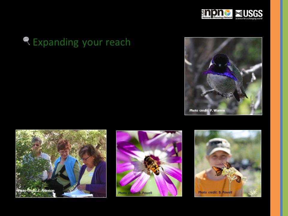 Expanding your reach Photo credit: E. Alderson Photo credit: B. Powell Photo credit: P. Warren