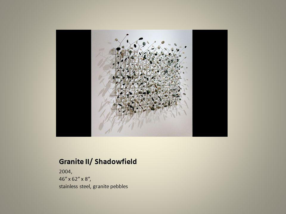Granite II/ Shadowfield 2004, 46 x 62 x 8 , stainless steel, granite pebbles
