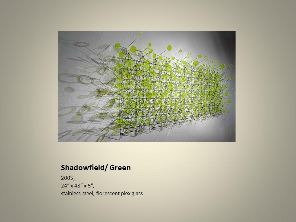 Shadowfield/ Green 2005, 24 x 48 x 5 , stainless steel, florescent plexiglass