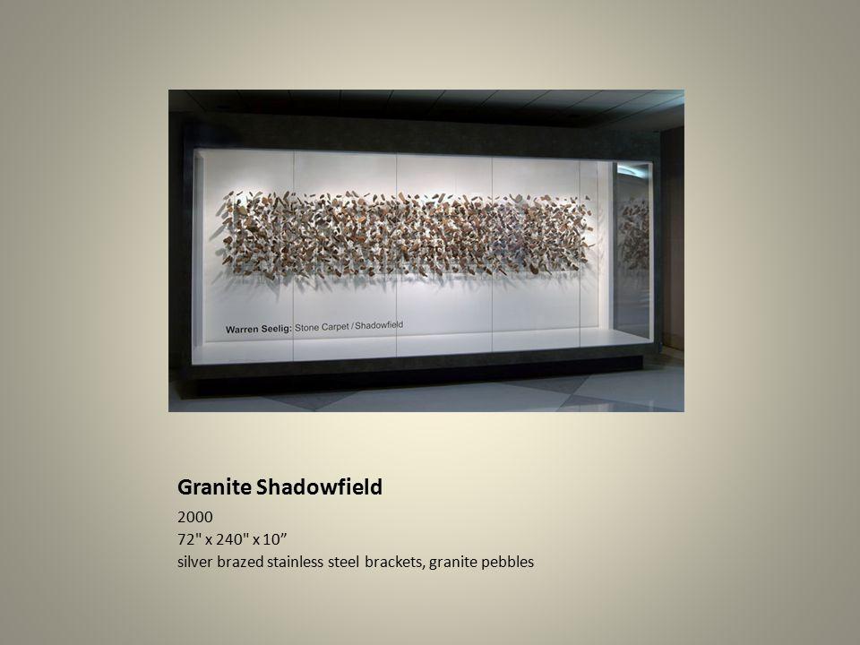 Granite Shadowfield 2000 72 x 240 x 10 silver brazed stainless steel brackets, granite pebbles