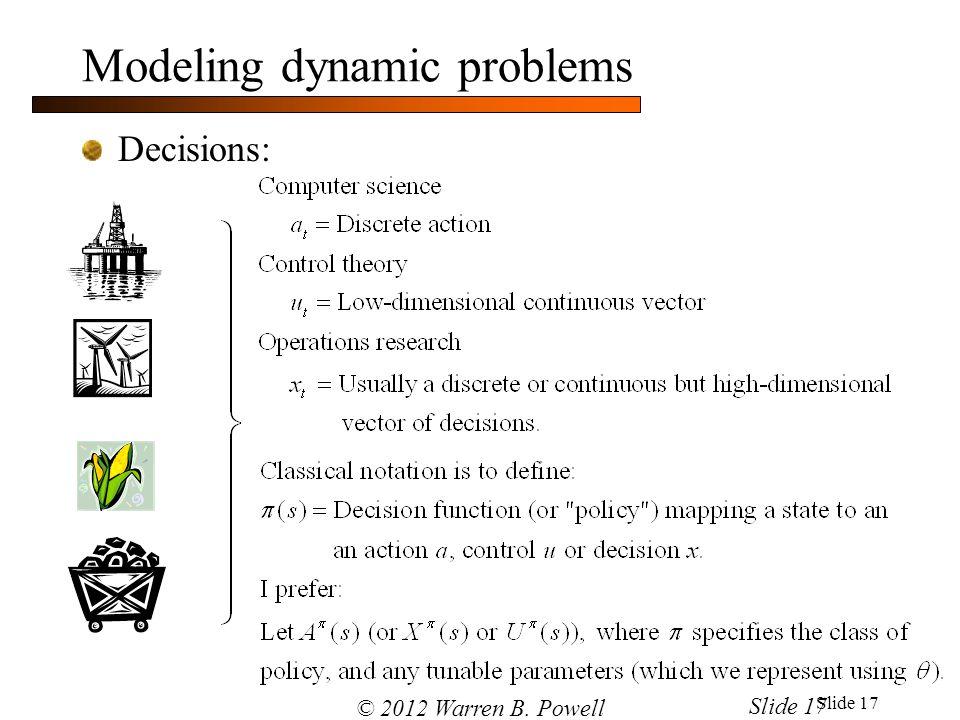 Slide 17 Modeling dynamic problems Decisions: © 2012 Warren B. Powell Slide 17