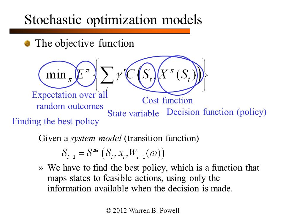 Stochastic optimization models The objective function Given a system model (transition function) »We have to find the best policy, which is a function