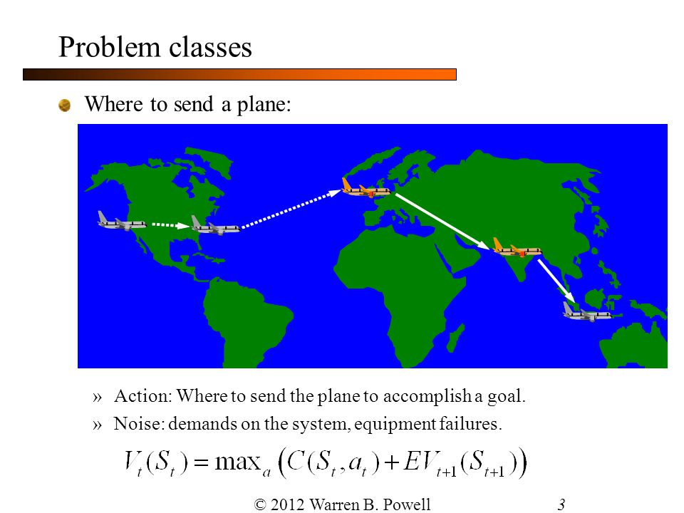 3 Where to send a plane: »Action: Where to send the plane to accomplish a goal. »Noise: demands on the system, equipment failures. Problem classes © 2