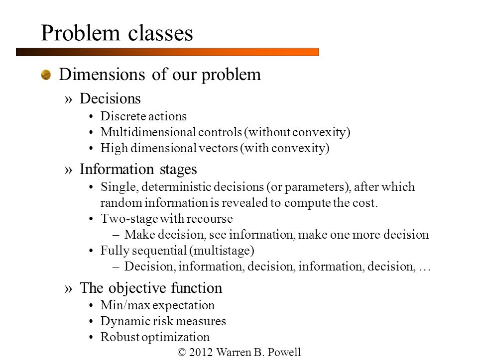 Slide 18 Modeling dynamic problems Exogenous information: Note: Any variable indexed by t is known at time t.