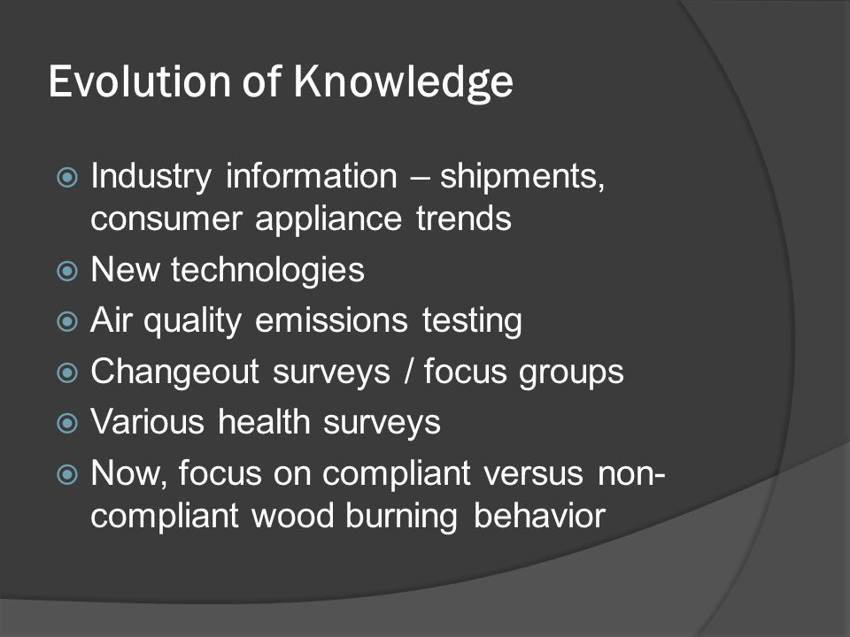 Evolution of Knowledge  Industry information – shipments, consumer appliance trends  New technologies  Air quality emissions testing  Changeout surveys / focus groups  Various health surveys  Now, focus on compliant versus non- compliant wood burning behavior
