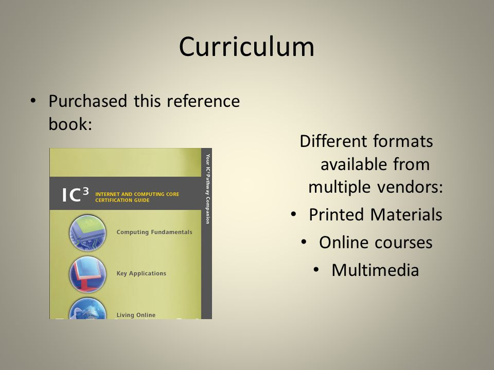 Curriculum Purchased this reference book: Different formats available from multiple vendors: Printed Materials Online courses Multimedia