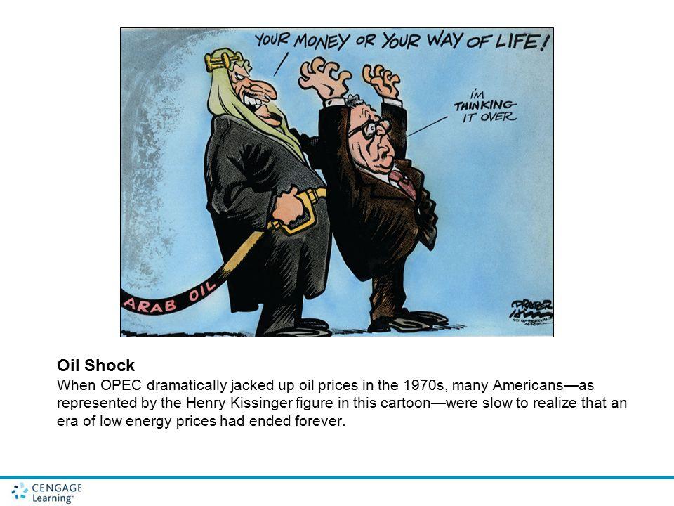 Oil Shock When OPEC dramatically jacked up oil prices in the 1970s, many Americans—as represented by the Henry Kissinger figure in this cartoon—were slow to realize that an era of low energy prices had ended forever.