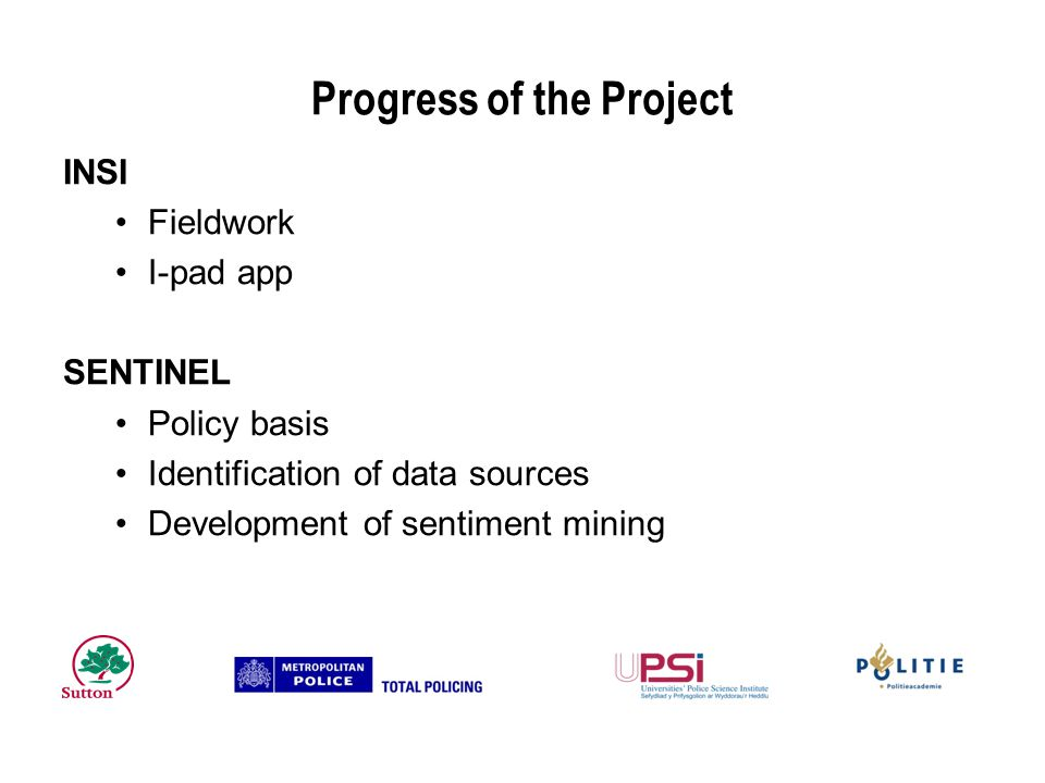 Progress of the Project INSI Fieldwork I-pad app SENTINEL Policy basis Identification of data sources Development of sentiment mining