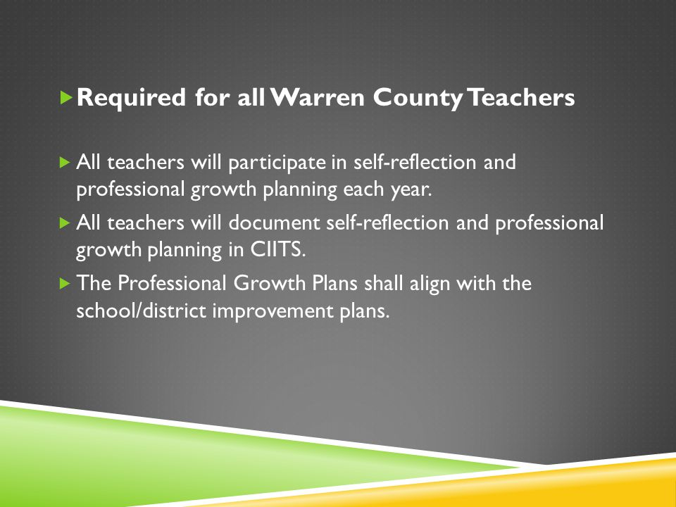  Required for all Warren County Teachers  All teachers will participate in self-reflection and professional growth planning each year.