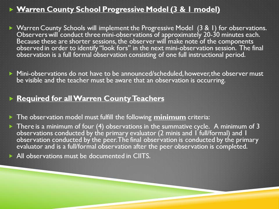  Warren County School Progressive Model (3 & 1 model)  Warren County Schools will implement the Progressive Model (3 & 1) for observations. Observer