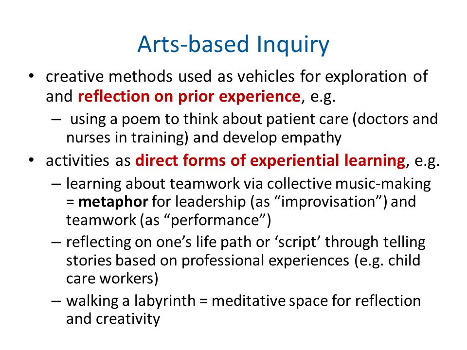 Arts-based Inquiry creative methods used as vehicles for exploration of and reflection on prior experience, e.g.